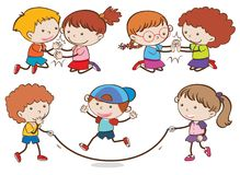 Set of children playing vector illustration