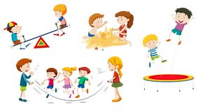 A set of children playing stock illustration