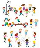 Set of children playing royalty free stock image
