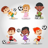 Set of children playing soccer cartoon Stock Photography