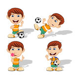 Set of children playing soccer and eating ice cream vector illustration Stock Photos