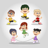 Set of children running and jumping rope cartoon Royalty Free Stock Photos