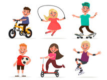 Set of children`s characters of boys and girls involved in sport Stock Photos