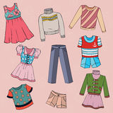 Set of children's clothes, vector design elements Royalty Free Stock Photo