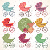 Set of children's coloured pram with Teddy bear Royalty Free Stock Image