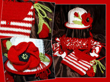 Set of children's crocheted - hat, scarf, bag Royalty Free Stock Image