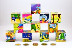 Set of childrens cubes Stock Images