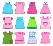 Set of children's dresses for girls. Vector illustration. Set children's summer dresses on a white background. Vector illustration Royalty Free Stock Image
