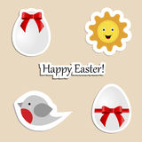 A set of children`s Easter stickers.  Stock Photos