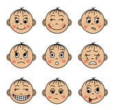 Set children's faces with different emotions Stock Images