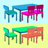 A set of children`s furniture for bars and cafes. Children`s tab. Le and chairs for girls and boys. Vector illustration Stock Images