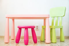 Set of children's furniture stock image