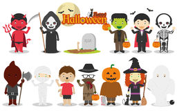 Set of Children´s Halloween characters Vector Illustration Royalty Free Stock Image