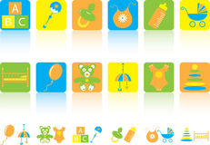 Set of children's icons Stock Photos