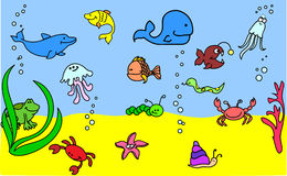 Set of children's icons of marine animals vector Royalty Free Stock Photography