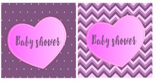 Set of children`s pink gradient patterns with hearts Royalty Free Stock Photos