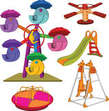 Set of children's roundabouts. Cartoon. The complete set a children's swing Royalty Free Stock Photos
