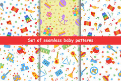 Set of children's seamless vector pattern. Royalty Free Stock Photography