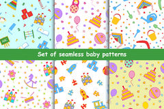 Set of children's seamless vector pattern. Stock Photos