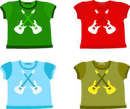 Set of Children's shirts. With guitar. Vector illustration Royalty Free Stock Photography