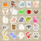 Set of children`s stickers of cute animals in cartoon style.  Stock Image
