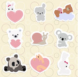 Set of children`s stickers of cute animals in cartoon style.  Royalty Free Stock Photo