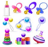 Set of children's toys rattles and nipple Stock Image