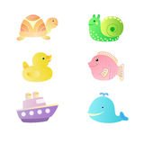 A set of children's toys swimming - duck, fish, turtle, snail, whale, boat. Set of toys for bathing on a white background - a duck, fish, turtle, snail, whale Stock Photo