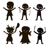 Set of children silhouette in Halloween costume. And dress on the white background. Vector kids carnaval suits Royalty Free Stock Photography
