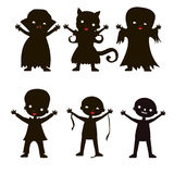 Set of children silhouette in Halloween costume Royalty Free Stock Photography