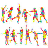 Set of children silhouettes in colored circles Royalty Free Stock Images