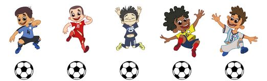 Set of children soccer players, a ball game stock illustration
