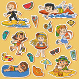 Set of children on summer vacation Stock Photography