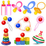 Of a set of children with Tits toys Yul and rattle Stock Photo
