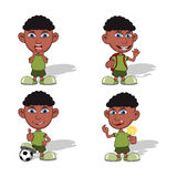 Set of children waving his hand, playing soccer, eating candy and yelling vector illustration Stock Photos