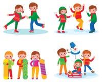 Set for children winter activities Stock Photo