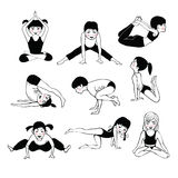 A set of children Yoga 2 Royalty Free Stock Photography