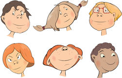 Set of childrens faces cartoon Stock Photography