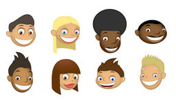 Set of childrens heads Royalty Free Stock Photos