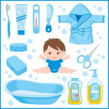 Set of childrens things for bathing Royalty Free Stock Photos