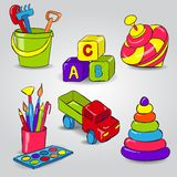 Set of Childrens Toys. Set with Whirligig, Children's Blocks, Bucket and Shovel, Paint, Car, Pyramid vector illustration