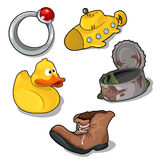 Set of childrens toys and old things Royalty Free Stock Photo