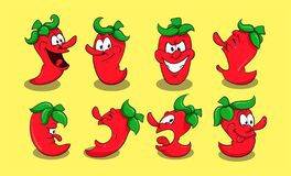 Free Set Chili Character With Various Expression Stock Images - 199034404