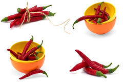 Set of chili pepper on white background Stock Photo