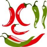 Set chili pieprze, ilustracja Zdjęcia Royalty Free
