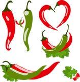 Set chili pieprze, ilustracja Zdjęcie Stock