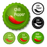Set chili stamps Stock Images
