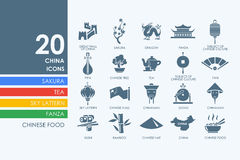Set of China icons. China vector set of modern simple icons royalty free illustration