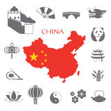 Set of China Infographic icons Stock Photos