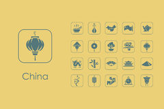 Set of China simple icons Stock Photo